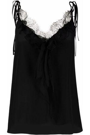 Alexander McQueen Women Cami Tops - Lace-trim silk camisole
