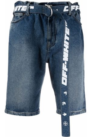 Off-White Men Shorts - Belted denim shorts