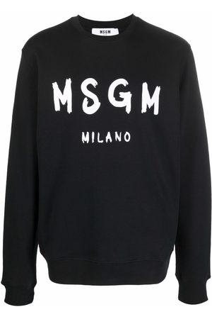 MSGM Men Sweatshirts - Logo-print crew neck sweater