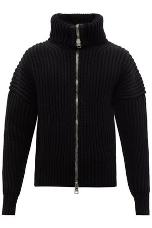 Stone Island Logo-patch Buttoned Wool-blend Sweater - Mens