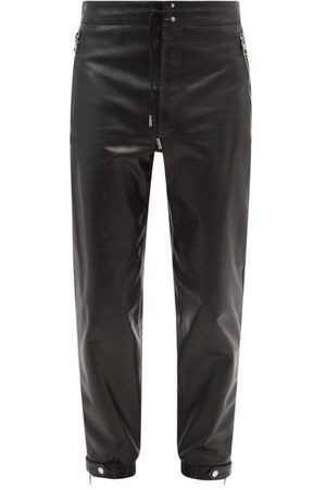 Alexander McQueen Men Joggers - Tapered Leather Trousers - Mens
