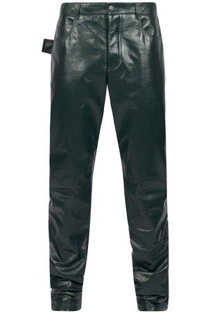 Bottega Veneta Straight-leg Leather Trousers - Mens - Dark