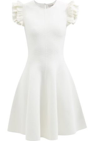 Alexander McQueen Ruffled-shoulder Stretch-knit Mini Dress - Womens - Ivory