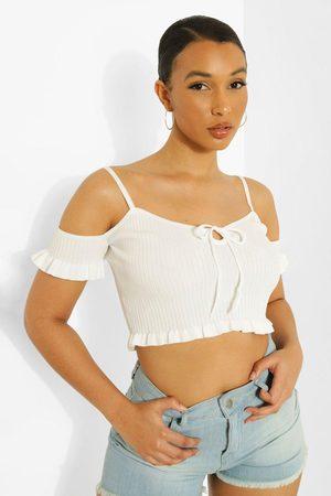 Boohoo Women Sweaters - Lace Up Frill Hem Rib Knit Top- Ivory