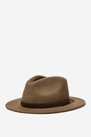 Cotton On Men Wide Brim Felt Hat - Fawn/