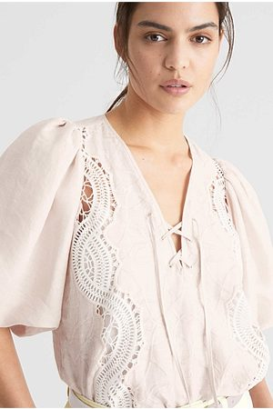 WITCHERY Lace Tie Front Blouse