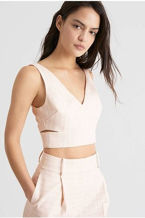 WITCHERY Woven Check Crop