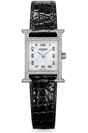 HERMÈS Heure H Stainless Steel, Diamond & Alligator Leather Strap Watch