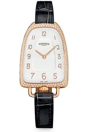 HERMÈS Galop 18K Rose Gold, Diamond & Alligator Leather Strap Watch