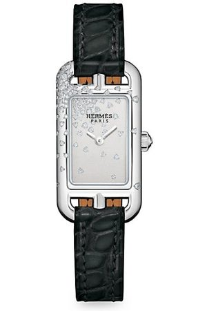 HERMÈS Nantucket Stainless Steel, Diamond & Alligator Leather Strap Watch