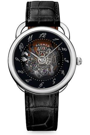 HERMÈS Arceau Stainless Steel & Alligator Leather Skeleton Watch