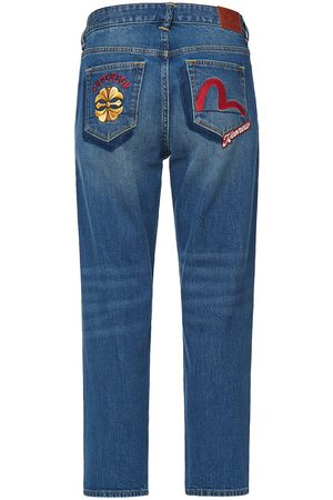 Evisu Kamon and Seagull Embroidered Relax-Cut Denim Jeans