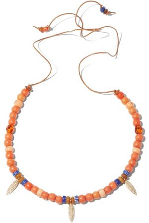 Musa by Bobbie Diamond, Coral & 14kt Gold Beaded Necklace - Womens - Amber