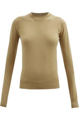 Bottega Veneta Contrast-stitch Knitted Sweater - Womens - Camel