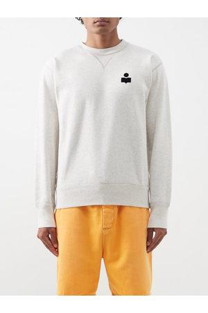 Isabel Marant Mike Flocked-logo Cotton-blend Sweatshirt - Mens - Cream