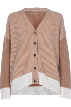 Marni Women Cardigans - Contrasting Ribbed Cashmere Cardigan - Womens - Camel