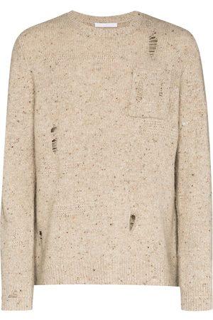 Helmut Lang Distressed crewneck knitted jumper