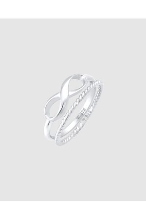 Elli Jewelry Ring Stacking Set Duo Infinity Twisted Basic Trend in 925 Sterling - Jewellery Ring Stacking Set Duo Infinity Twisted Basic Trend in 925 Sterling