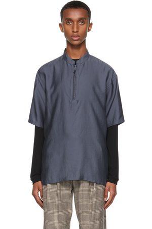 Giorgio Armani Men Short sleeves - Navy Half-Zip Sport Short Sleeve Shirt