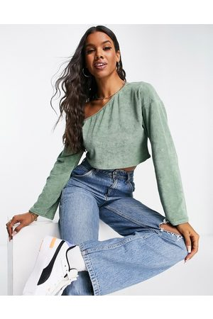 ASOS DESIGN Towelling off shoulder co-ord beach top in -Green