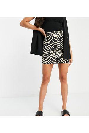 Reclaimed Vintage Inspired mom denim skirt in zebra print co-ord