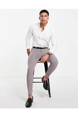 ASOS Wedding super skinny wool mix suit pants in puppytooth-Red