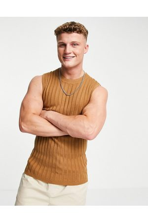 ASOS DESIGN Muscle fit ribbed tank in -Brown