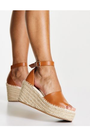 Glamorous Wedge espadrille sandals in camel-Neutral