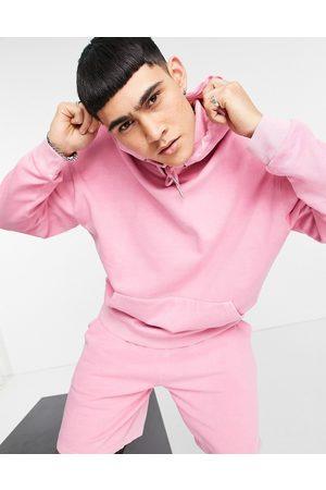 ASOS DESIGN Organic co-ord oversized hoodie in pink vintage wash