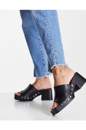 Topshop Rosie leather mid clog mules in