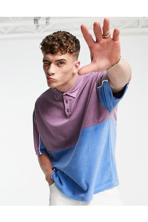 ASOS DESIGN Oversized towelling polo t-shirt in blue & purple colour block