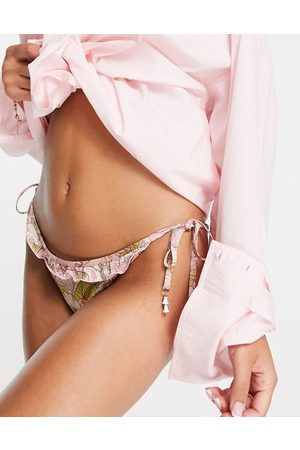 River Island Floral strappy bikini bottoms in pink