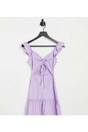 ASOS Petite cut-out sundress with ruffle shoulder in -Purple