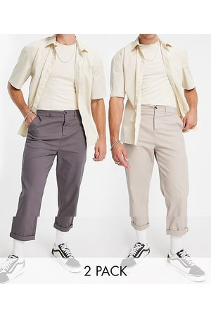 ASOS 2 pack relaxed skater chinos in charcoal and beige