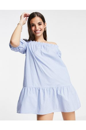 Influence Off-shoulder mini dress in stripe