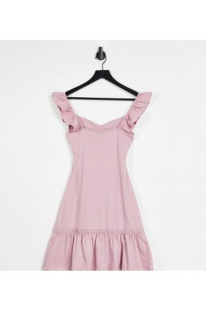 ASOS Tall cut out sundress with ruffle shoulder in -Pink