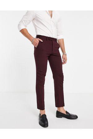 ASOS DESIGN Wedding skinny wool mix suit pants in herringbone-Red
