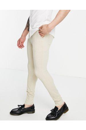 ASOS DESIGN Skinny smart pants in waffle-Neutral