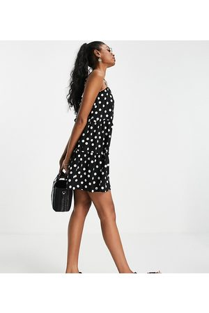 ASOS DESIGN Tall strappy sundress with tiered frill detail in mono polka dot-Black