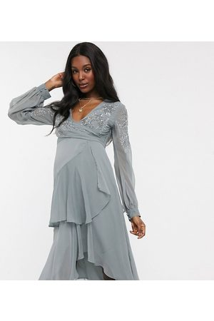 ASOS ASOS DESIGN Maternity embellished wrap waist midi dress with double layer skirt and long sleeve in dusty blue