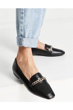 Dune Glistens chain loafers in black