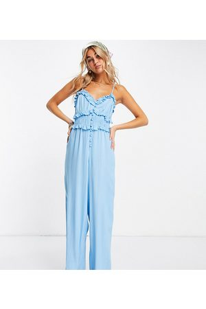 Reclaimed Inspired cami jumpsuit with button front in blue-Multi