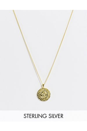 ASOS DESIGN Sterling silver skinny neckchain with sun pendant in 14k plate