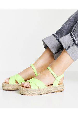 Glamorous Flatform espadrille sandals in lime-Green