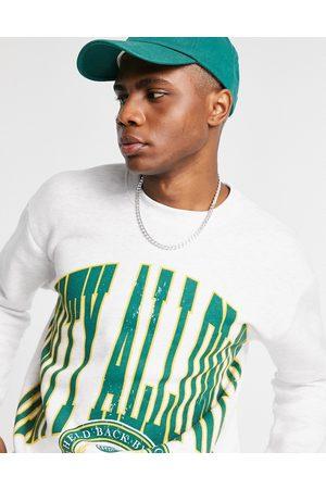 Pull&Bear Varsity print sweatshirt in marle