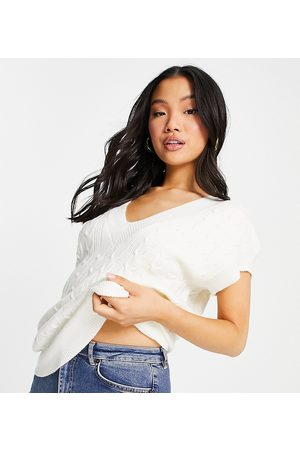 Topshop Cable knit singlet top co-ord in -White