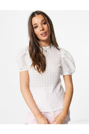 Pieces Puff sleeve high neck blouse in -White