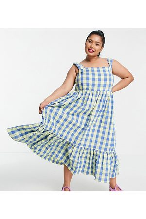 Collusion Plus exclusive gingham midi dress in blue and green-Multi