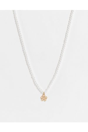 ASOS DESIGN Neckchain with faux pearl and flower pendant in