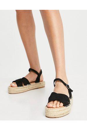 Glamorous Flatform espadrille sandals in black